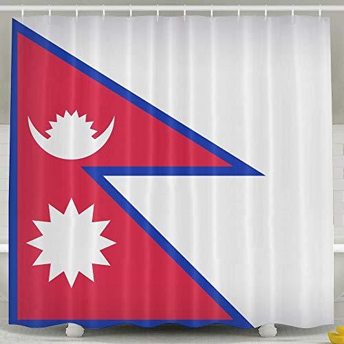 Presock Nepal Large Flag Tenda da Doccia/Tenda da Bagno Waterproof Polyester Fabric Bath Decor Bathroom Sets 60X72inch,Water-Repellent & Eco-Friendly,Includes Free Hooks