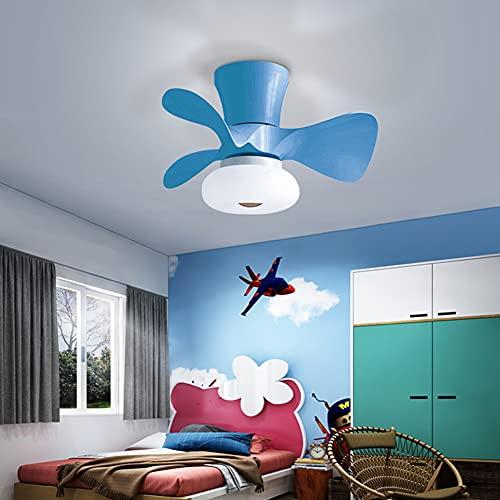 OUJIE Ventilador De Techo LED con Iluminación, Velocidad del Viento Ajustable Y Atenuación, Luz De Ventilador De Techo Ultra Silenciosa,30W LED Cute Colors Boys Girls Room,Azul