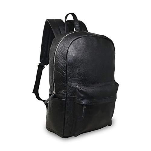 18' Black Genuine Leather Laptop Backpack Water Resistant Casual Office Work Professional College Bookbag Comfortable Lightweight Travel Rucksack Men