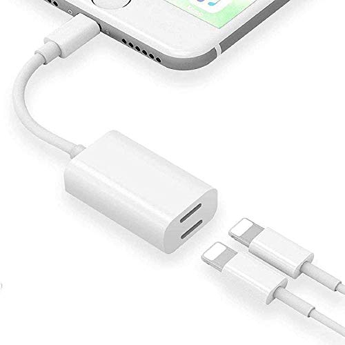 [Apple MFi Certified] iPhone Headphones Adapter & Splitter, Lightning to 2 Lightning Aux+Charger Cable Adapter Compatible iPhone 12/11/XS/XR/X/8/7/6 iPad Converter Music+Charging+Call+Volume Control
