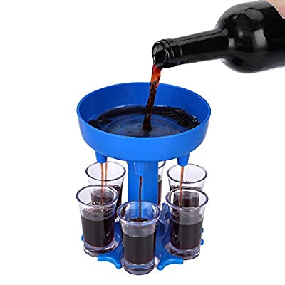 Phetium Shot Glass Dispenser,6 Shot Glass Dispenser (Including 6 Glasses) for Red Wine/Bar Shot/Beer with Holder, Add More Fun to the Party, Color Blue