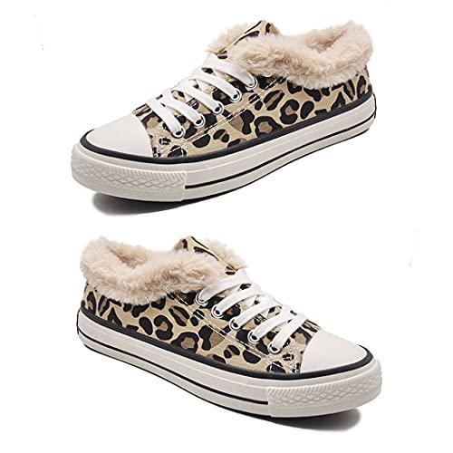 CloverGorge Zapatillas de Lona para la Nieve para Mujer, con Estampado de Leopardo, cómodas y Resistentes al Desgaste, a Prueba de esquís, para Mujer