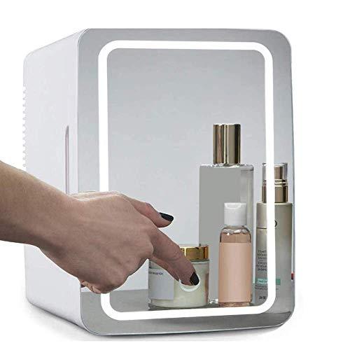 Mini nevera/refrigerador cosmético portátil, panel de cristal + iluminación LED, con ajuste caliente y frío 8 L