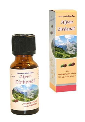 ZIRBENÖL premium - 100% naturreines ätherisches Zirbelkiefernöl aus Österreich - Duftöl - für Raumduft-Diffuser - Aromatherapie (20ml)