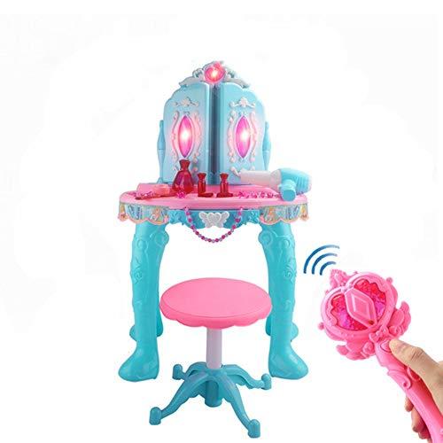 OUY Spielzeugkommode Simulation Play House Schminktisch Kinder Fernbedienung Doppeltür Kleine Prinzessin Puzzle Spielzeug Mädchen Dressing Tabelle mit Hocker 70.5x29x48.5cm Schminktischset für Kinder