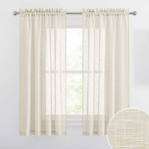 Cozynight Yellow Sheer Tier Curtains 45 inch Length Linen Curtain Sheers Transparent Half Window Curtains Kitchen Tiers Bathroom Small Curtains Cafe Curtains Light Filtering Rod Pocket 2 Panels