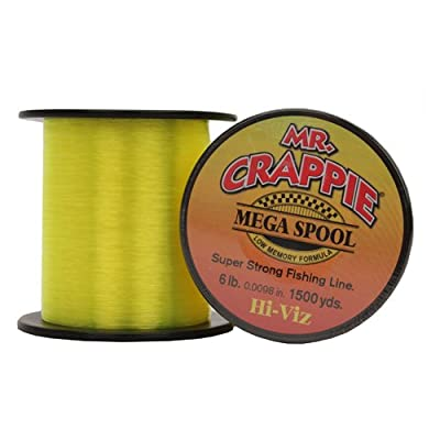 Mr. Crappie MC6HV Mega Spool Line, 6-Pound, 1500-Yard, Hi-Viz