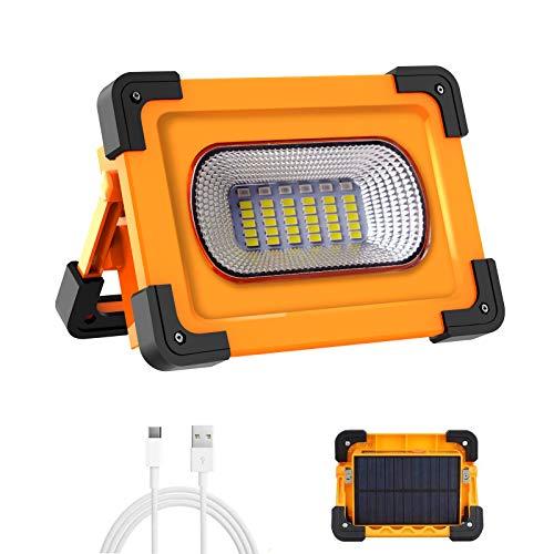 Projecteur LED Rechargeable Projecteur Chantier T-SUN 60W 3000 Lumens Lumière de Travail avec Batterie 9000mAh & Pannea Solaire 4 Modes Lanterne Portable Projecteur Extérieur pour Camping, Bricolage