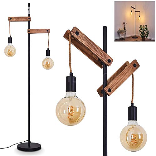 Floor lamp Aarhus in Genuine Wood, Rope and Black Metal, Vintage lamp with 2 Pendant Lights & Switch on The Cord, Fitting in a Retro Living Room, for 1 E27 max. 60 Watt Light Bulb, Suitable LED Bulbs