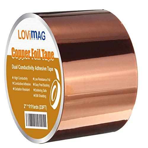 Copper Foil Tape (2inch X 33 FT) with Conductive Adhesive for Guitar and EMI Shielding, Crafts, Electrical Repairs, Grounding