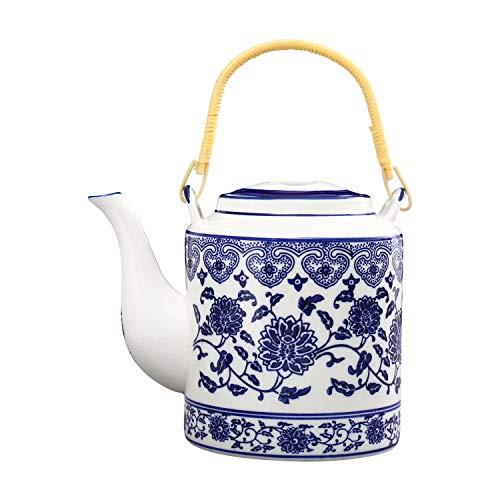 ufengke 30oz Tetera de Porcelana Azul y Blanca,Grande Tetera de Cerámica para el Té de Kungfu,Olla de Elevación de Cerámica de Flores Azules