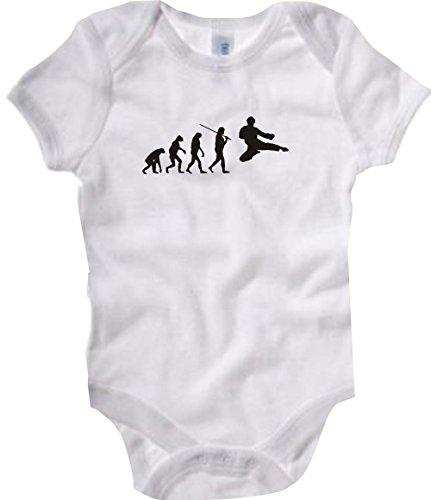 Unbekannt Krokodil Baby Body Evolution Kampfsport,Judo,Karate,Aikido,Kung FU,Jiu Jitsu Farbe Weiss, Größe 12-18 Monate