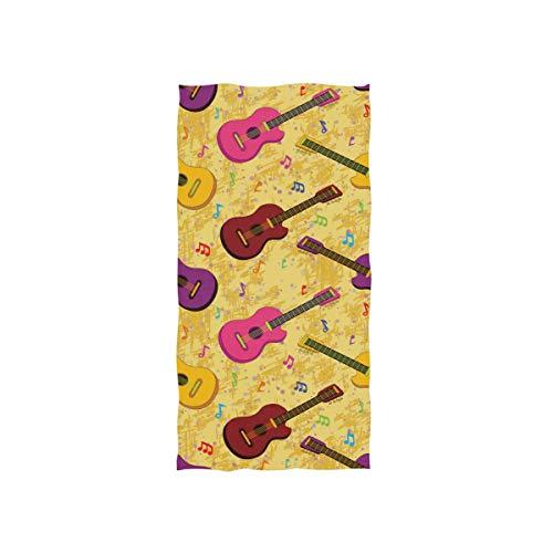 Alaza, toalla de gimnasio de microfibra, guitarras coloridas, secado rápido, para deportes, fitness, sudor, toalla facial, 38 x 76 cm