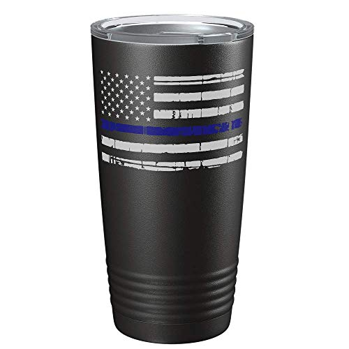 Distressed Thin Blue Line Flag Law Enforcement Police Officer on Black 20oz Stainless Steel Tumbler