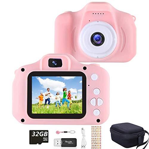 YunLone ToyZoom Cámara para niños Cámaras Digitales Regalos de cumpleaños niños Niñas Video Camara pequeños 1080P IPS 2 Pulgadas - Rosa
