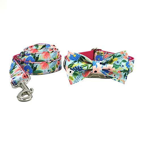 Wulivon Collar para mascotas con pajarita estampada con diseño de flores, suave y cómoda pajarita ajustable, adecuado para perros pequeños, medianos y grandes, XS