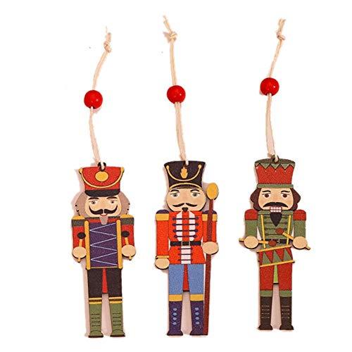 Christbaumschmuck, Weihnachtsbaumanhänger Nussknacker,9PCS Walnut Soldier Doll Bunt bedruckte Holzanhänger Christbaumschmuck Zubehör