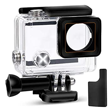 Yimobra Waterproof Housing Case for Gopro Hero 4 and Hero 3+ with Quick Release Mount and Thumbscrew Protective 147FT 45M Underwater Photography Dive Hero Transparent  Presented One More Clip