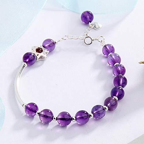 Feng Shui Wealth Crystal Bracelet Natural Amethyst 925 Silver Inlaid Garnet Star of David Beaded Bracelet Adjustable Amulet Attracts Money Luck