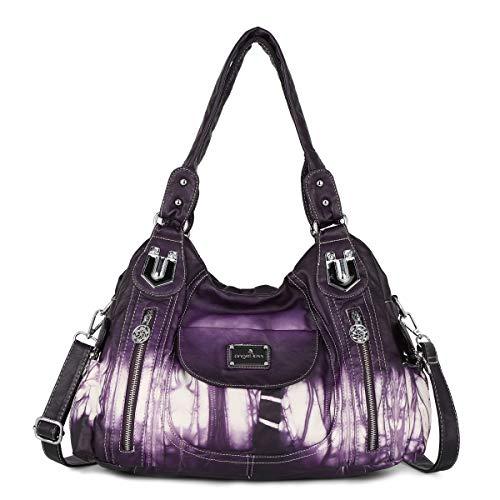 Angel Kiss Roomy Fashion Hobo Womens Handbags Ladies Purse Satchel Shoulder Bags Tote Washed Leather Bag (A-AK812-2Z 58 PURPLE)