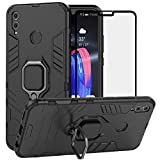 BestAlice for Huawei Honor 8X Case, Hybrid Heavy Duty Protection Shockproof Defender Kickstand Armor Case Cover Tempered Glass Screen Protector,Black