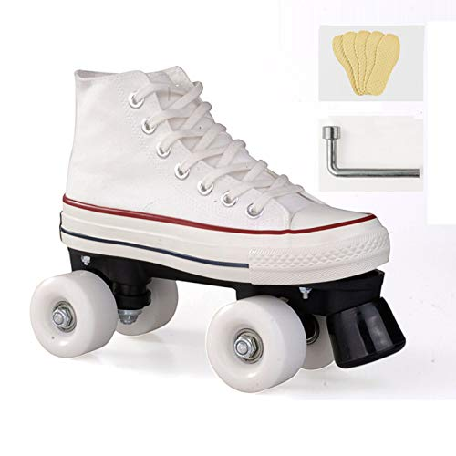 WEDSGTV Roller Skates for Women/Kids, Quad Skates up Wheels Adults,Adjustable Shoes with Wheels for Children, Unisex LED Double Row Canvas Rollschuhe Damen,Teenagers Roller Skating,White-39