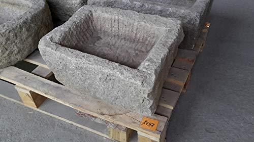 Der Naturstein Garten Alter Trog aus Granit 44 cm lang Brunnen Steintrog - G1497 Granittrog Waschbecken
