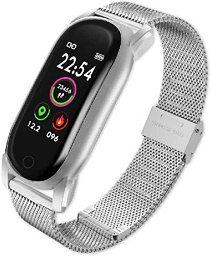 Reloj inteligente para hombre y mujer, presión arterial, banda inteligente, ritmo cardíaco, pulsera de fitness, impermeable, reloj inteligente para Android IOS (color: acero plateado)
