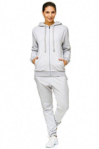 Violento Damen Jogginganzug Uni 586   100% Baumwolle   Trainingsjacke mit Reißverschluss   Hose mit Gummizug und Zugband   Rippstrickbündchen   Grau, XL