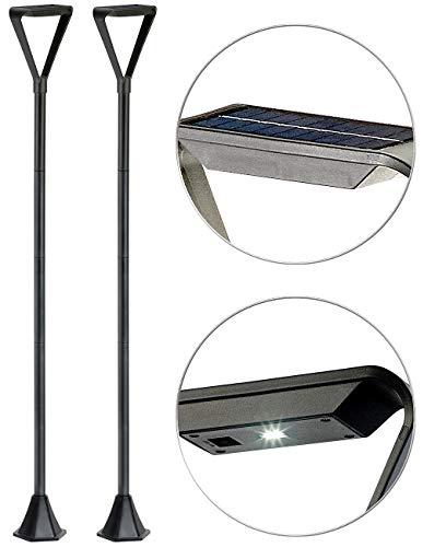 Royal Gardineer Solarlaterne für außen: 2er-Set Moderne Design-LED-Gartenlaternen, Solarpanel, 50 lm, 148 cm (Strassenlaternen für Garten)