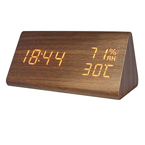 Homieco Digital Wecker Holz Einstellbare Helligkeit Sprachsteuerung LED Dreieckuhren Anzeige Zeit Temperatur Wohnkultur