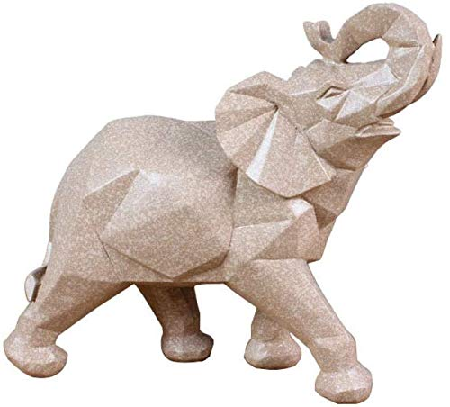 Desktop-Skulptur Elefant Skulptur Tier Statue Feng Shui Puppe Wohnzimmer Dekoration Handwerk Ornamente Figuren Geschenke Skulptur Kunst Desktop Zubehör (Color : As Shown, Size : 18 * 7.5 * 15 CM)