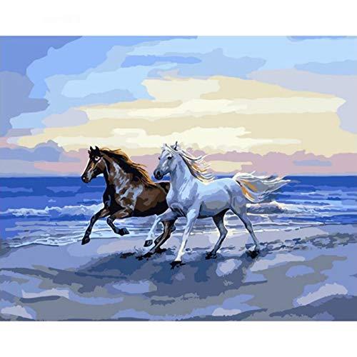 Marco caballo animales Diy pintura por números arte de pared pintado a mano cuadro acrílico con caja regalo decoración del hogar