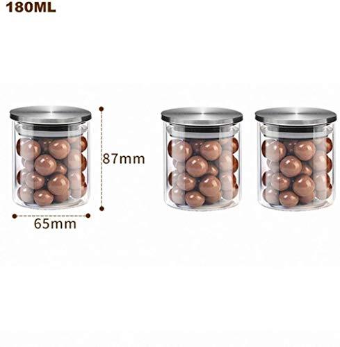 Glazen potten met deksels Hermetische Set, 3, Groot-Pots Wide Aperture, potten perfect geschikt te houden koffie, suiker, meel en thee, 500ML, Grootte: 180ML