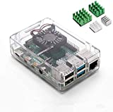 Aukru Caja Transparente para Raspberry pi 4 Modelo B con 4X disipador de Calor para Raspberry pi 4 Modelo B