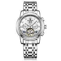 RORIOS 腕時計 メンズ 機械式 自動巻き 手巻き スケルトン 夜光 ビジネス 日付表示 トゥールビヨン ビジネス アナログ腕時計 多機能 ステンレスバンド 防水 日本語説明書付き 一年保証 ホワイトA