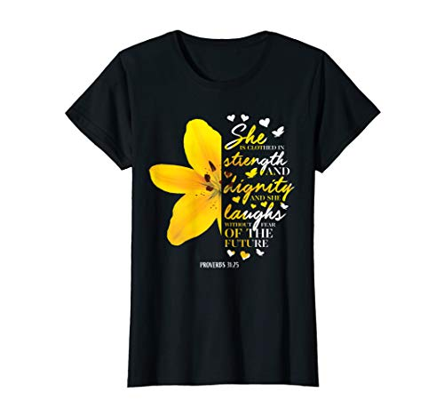 Christian Bible Verse Gifts Her Yellow Lily Flower Women Mom T-Shirt