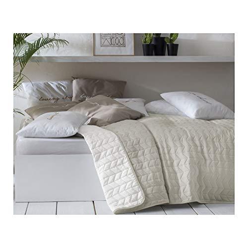 JEMIDI Tagesdecke Bett und Sofaüberwurf gesteppt 220cm x 240cm Überwurf Tagesdecke Sofa Couch Decke Husse Überwürfe Steppdecke XL XXL (Variante 1 Beige/Ecru)