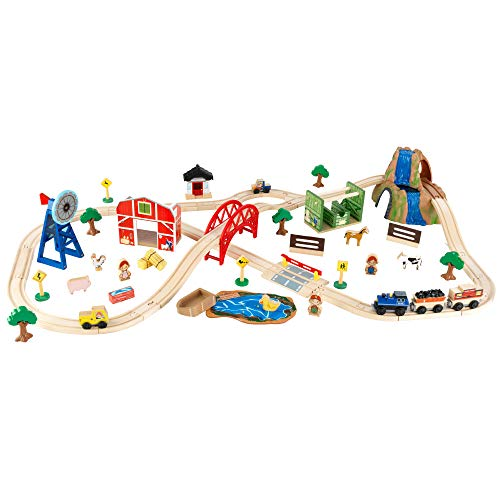 Product Image of the KidKraft Wooden Rural Farm Train Set with 75 Pieces, Children's Toy Vehicle...