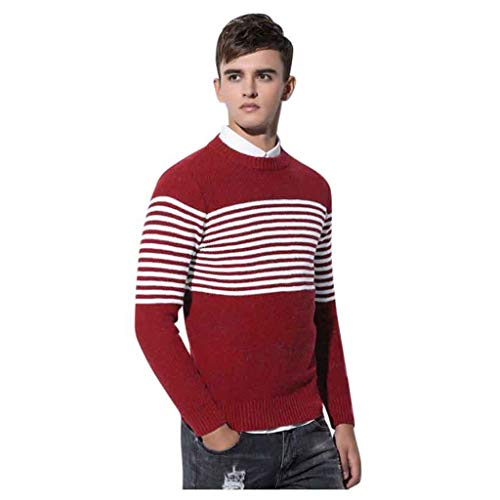 Best Buy! Men Winter Knitted Long Sleeve Crewneck Warm Slim Fit Soft Cotton Cable Stitch Sweater Swe...