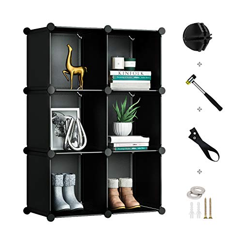 GREENSTELL 6 Cubes Storage Organizer,DIY Plastic Stackable Shelves Multifunctional Modular Bookcase Closet Cabinet for Books,Clothes,Toys,Artworks (Black)