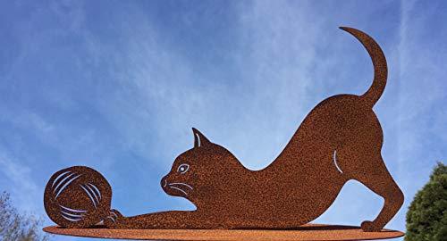 Katze mit Wolle spielend 40x23cm Kätzchen Wollknäuel Rost Edelrost Metall Rostfigur + Original Pflegeanleitung von Steinfigurenwelt