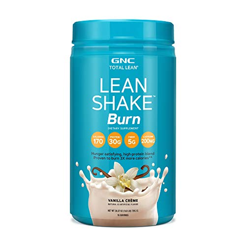 GNC Total Lean Lean Shake Burn Protein Powder - Vanilla Crème, 16 Servings, Supports with Weight Loss