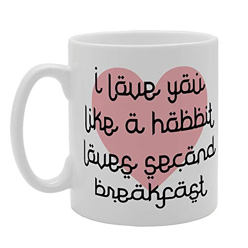 MG2627 - Taza de cerámica con texto 'I Love You Like Hobbit Loves Second Breakfast