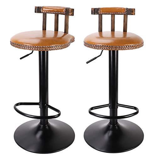 unho Taburetes Altos de Cocina con Respaldo, 2 x Taburete Bar de Altura Ajustable sillas Altas de Cocina Giratorio de 360 Grados Taburetes Vintage de Cuero Sintético para Cafetería Hogar Color Madera