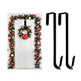 Auckpure Christmas Over Door Hooks, Door Hanger, Door Hook, Wreath Hanger, Wreath Hanger For Front Door Black (2 packs) Strong Metal, Easy to Use, Suitable for Christmas Various Decorations