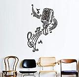 Etiqueta De La Pared Micrófono Y Notas Musicales De Vinilo Pegatinas De Pared Para Habitaciones De Niños Decoración De La Pared Diy Wallpaper Carteles Decoraciones Para El Hogar Accesorios58X93Cm