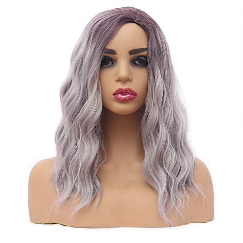 Ombre Gray Wigs Silver Short Bob Wavy Wig Fashion for Women Side Part Natural Wave Wig Light Purple Brown Root Synthetic Full Cosplay Wigs 16 inches
