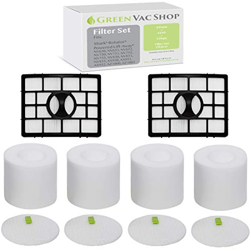 GreenVacShop Shark Rotator APEX DuoClean Powered Lift-Away NV650, NV651, NV652, NV750, NV751, NV752, NV753, AX950, AX951, AX952 Replacement Filter Set, XFF650 XHF650 (4 Foam + 4 Felt + 2 HEPA)