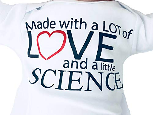Made with Love and Science Outfit for IVF Baby, 0-3 Months, In Vitro, Surrogate Miracle Babies, Unisex Worth the Wait Shirt, Pregnancy Announcement, Short Sleeve (Newborn, White)
